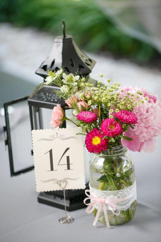 Mason jar and lantern centerpieces :) | Wedding centerpieces ...