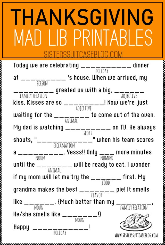 Thanksgiving Mad Libs Printable - My Sister's Suitcase - Packed with Creativity #thanksgivingcraftsforkids