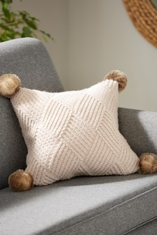 Cushion Throws Plain Cushions Throws Next Uk Plain Cushions Pompom Cushion Knitted Throws