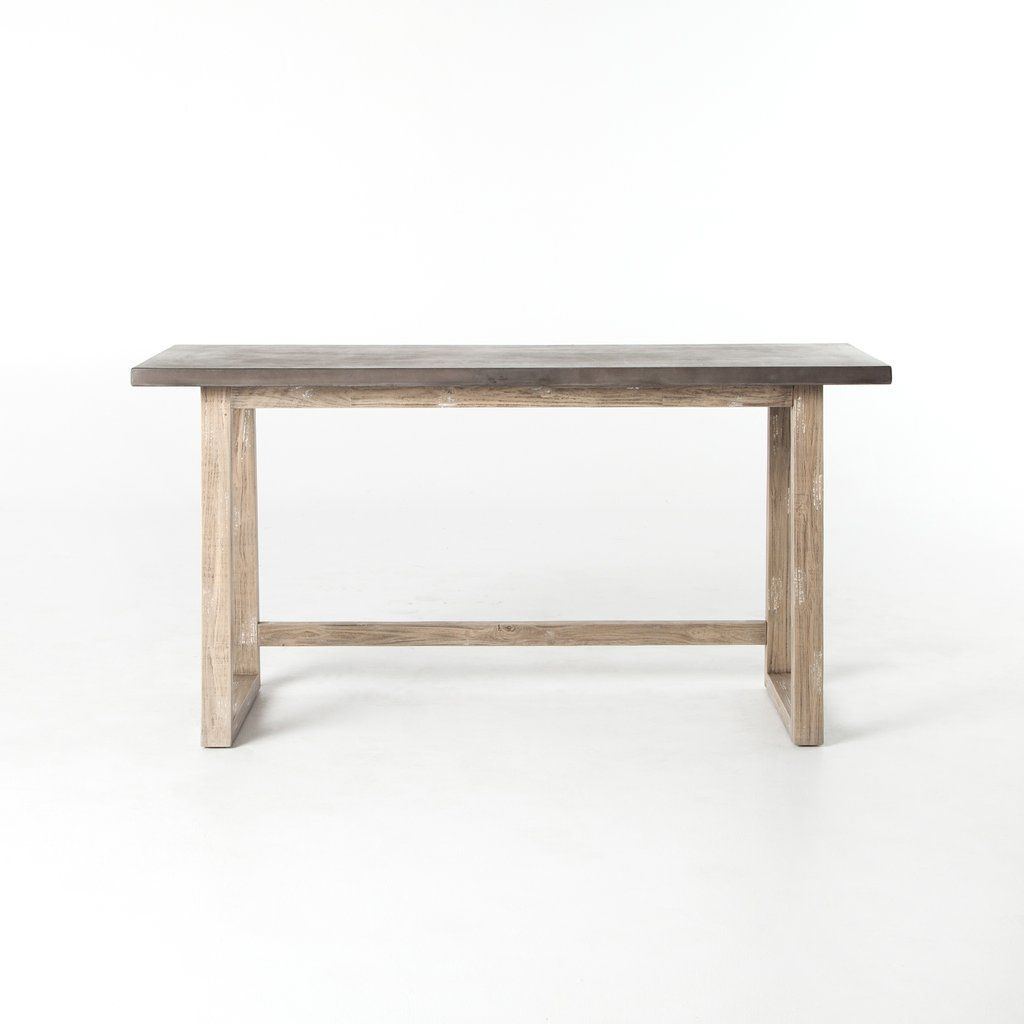 Crockett Desk In White Wash Antiqued Dark Grey