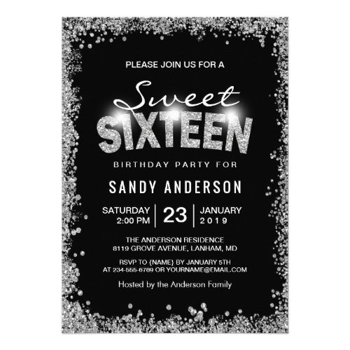 Black Silver Glitter Diamond Sweet 16 Sixteen Invitation ...