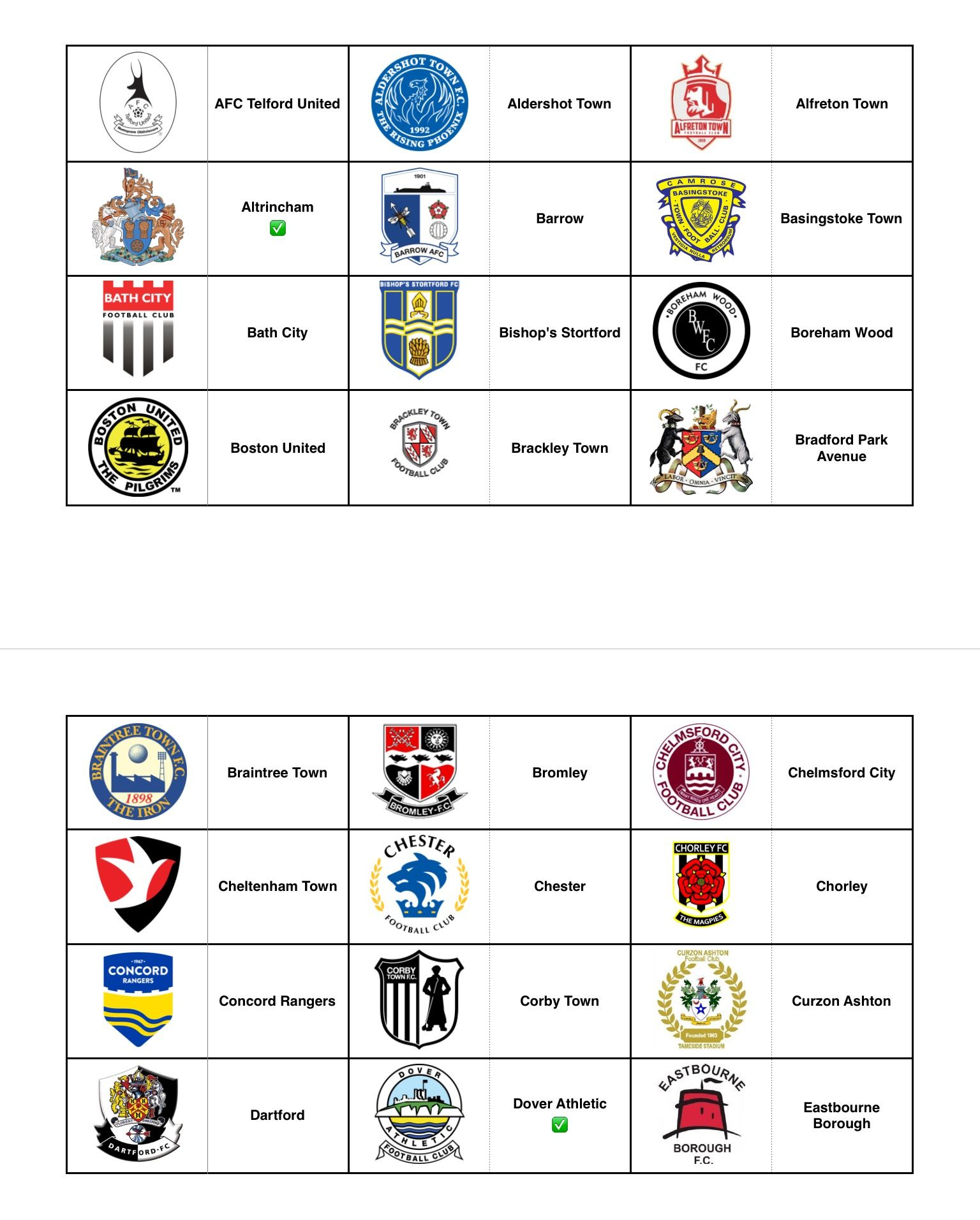 Official Club Crests - England (Non League) - Part 1   Football