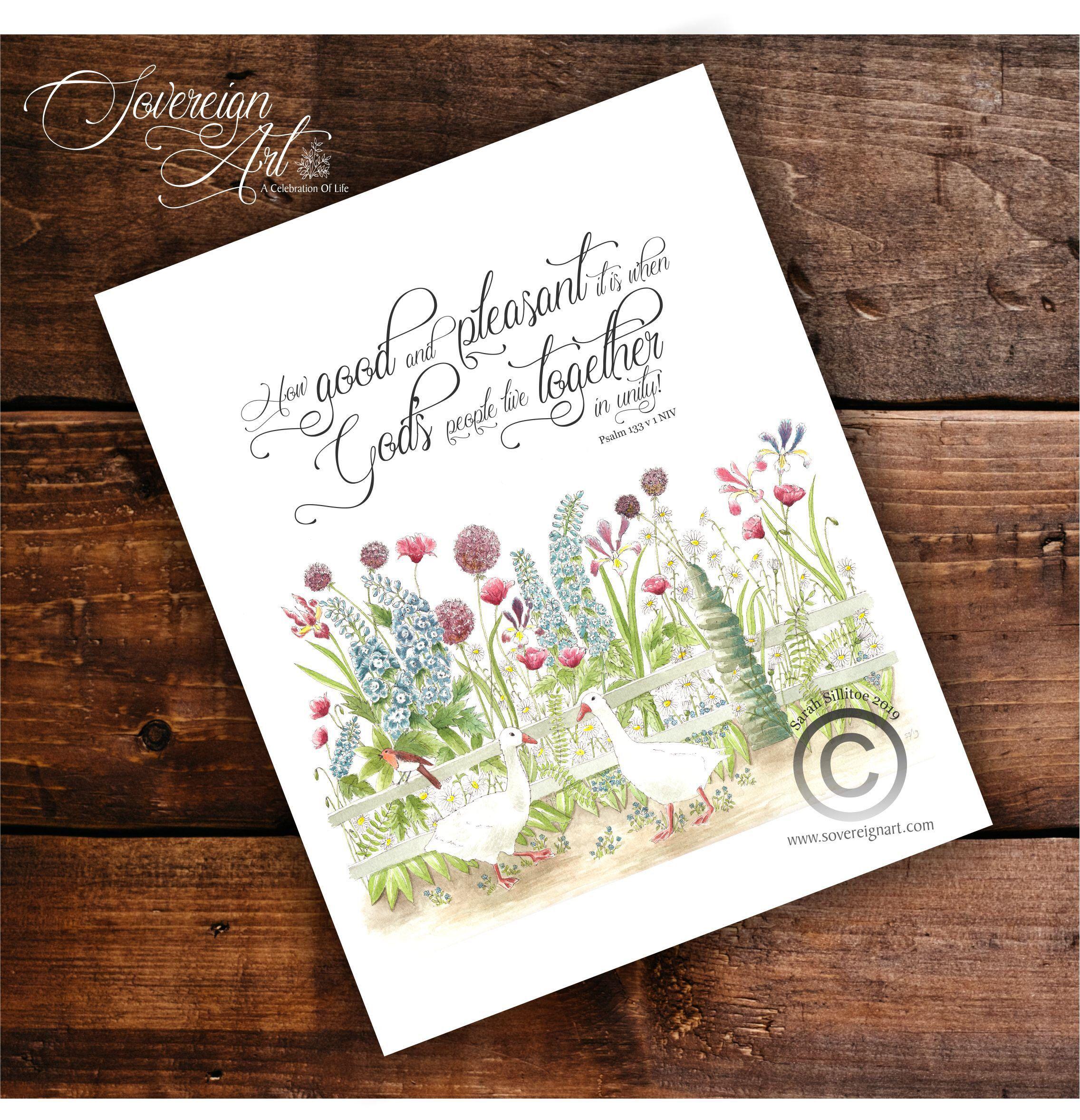 Christian art print bible verse psalm 133 v 1 how good and