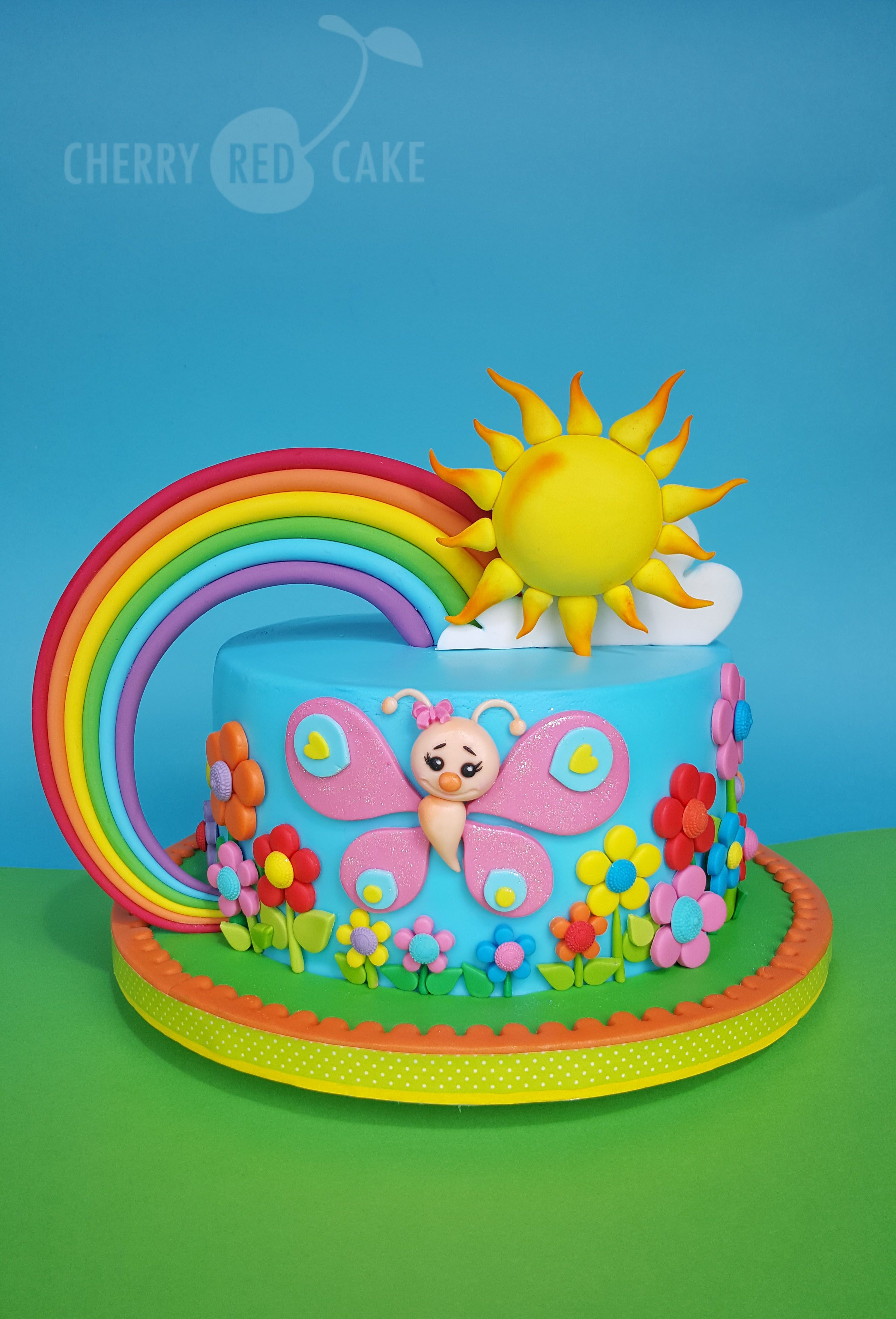 Butterfly And Rainbow Cake With Images Rainbow Birthday Cake