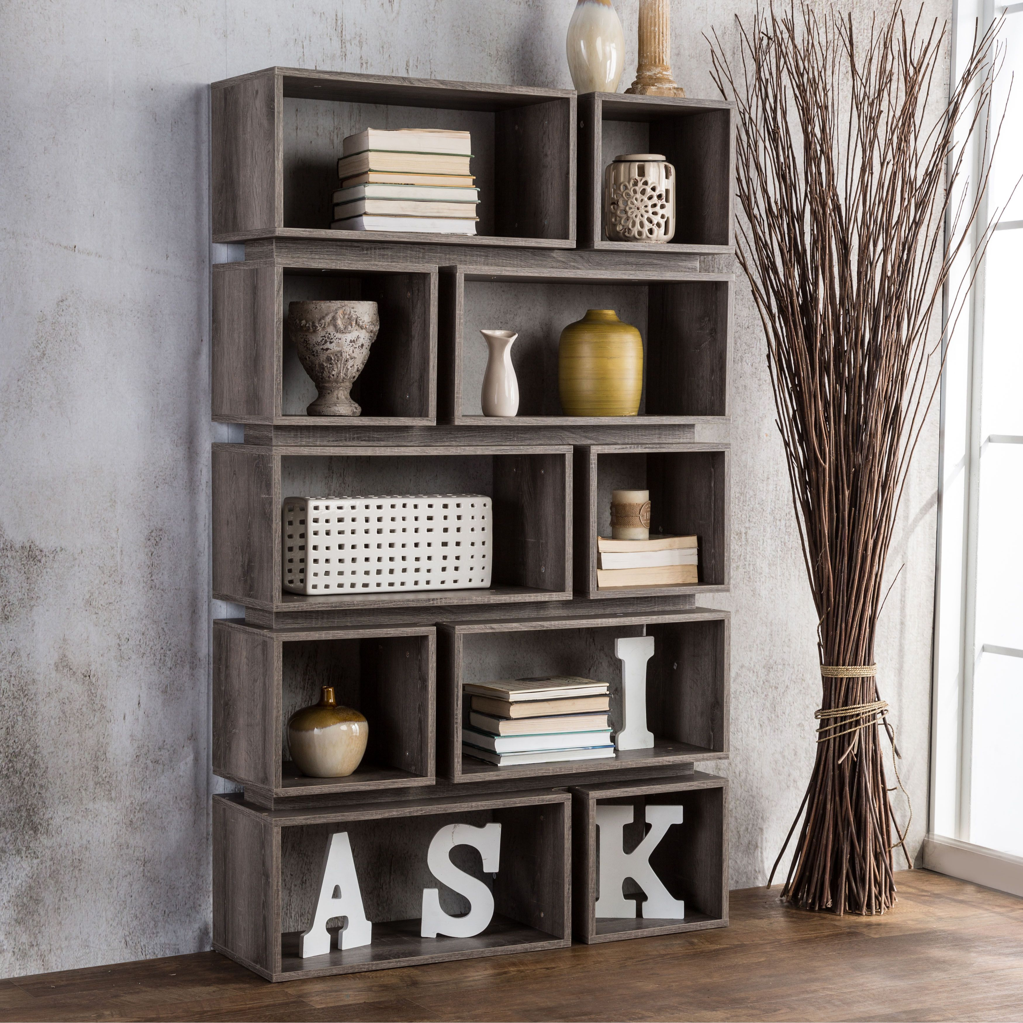 divider furniture kayla mn taupe open bookshelf p look office bookcase bookcases modern in room dark reclaimed