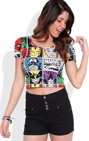 5264373b744d2a Deb Shops Short Sleeve Crop Top with Marvel Comics Screen... so tacky...  but I want it SO bad.