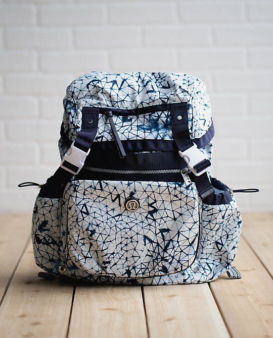1d7bc64b33e Lululemon Travelling Yogini Rucksack in whatever this print is called ( ),  blue and white.