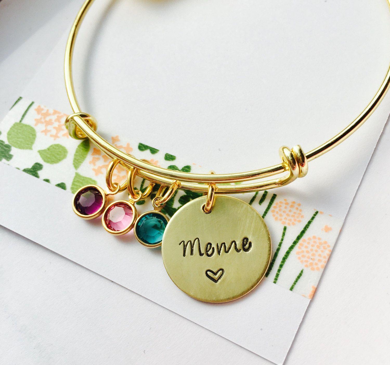 Personalized Grandma Bracelet Bangle Gold Mimi Family