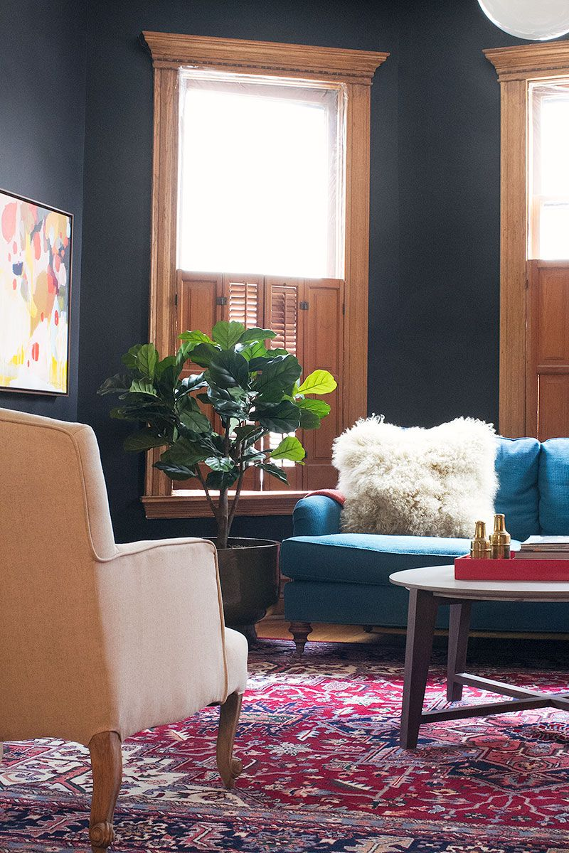Black walls benjamin moore beauty teal winifred sofa from anthropologie and  vintage persian rug also