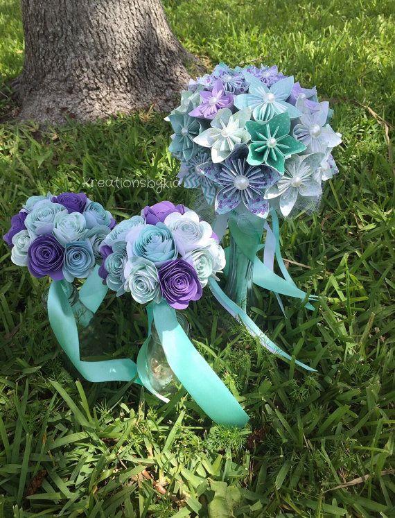 bridal de ramos de flores de papel ramo kusudama origami ramo novia de