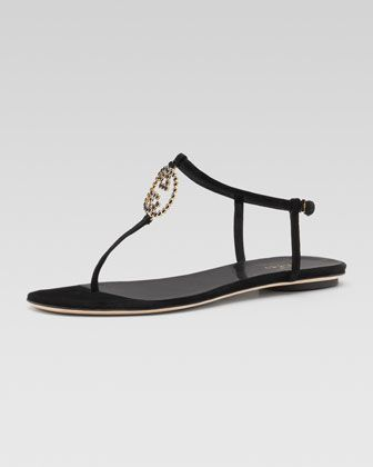 2f50d32e8df Metallic GG Thong Sandal by Gucci at Neiman Marcus.