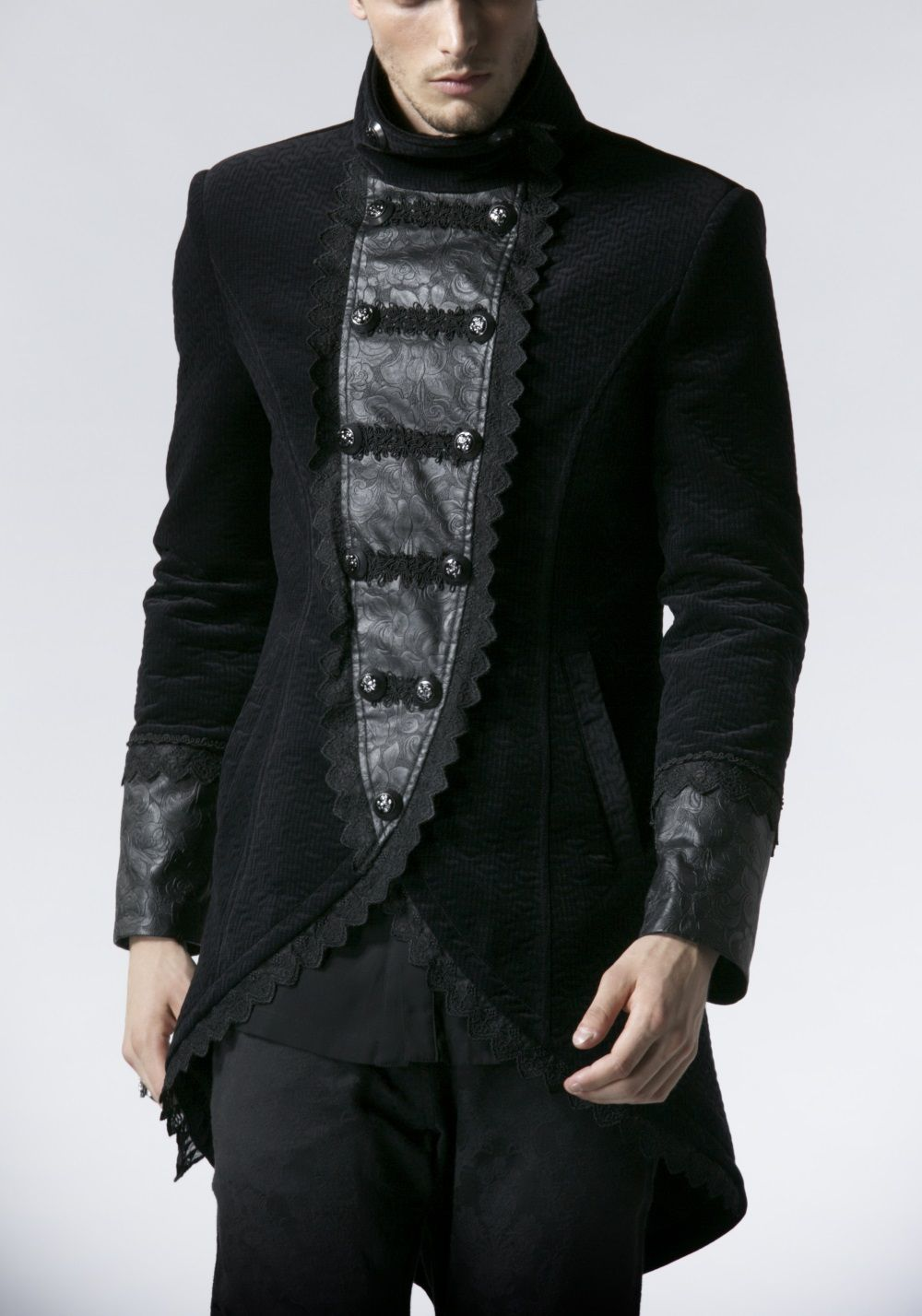 Redingote gothique homme en velours noir  7d6dd4b6564