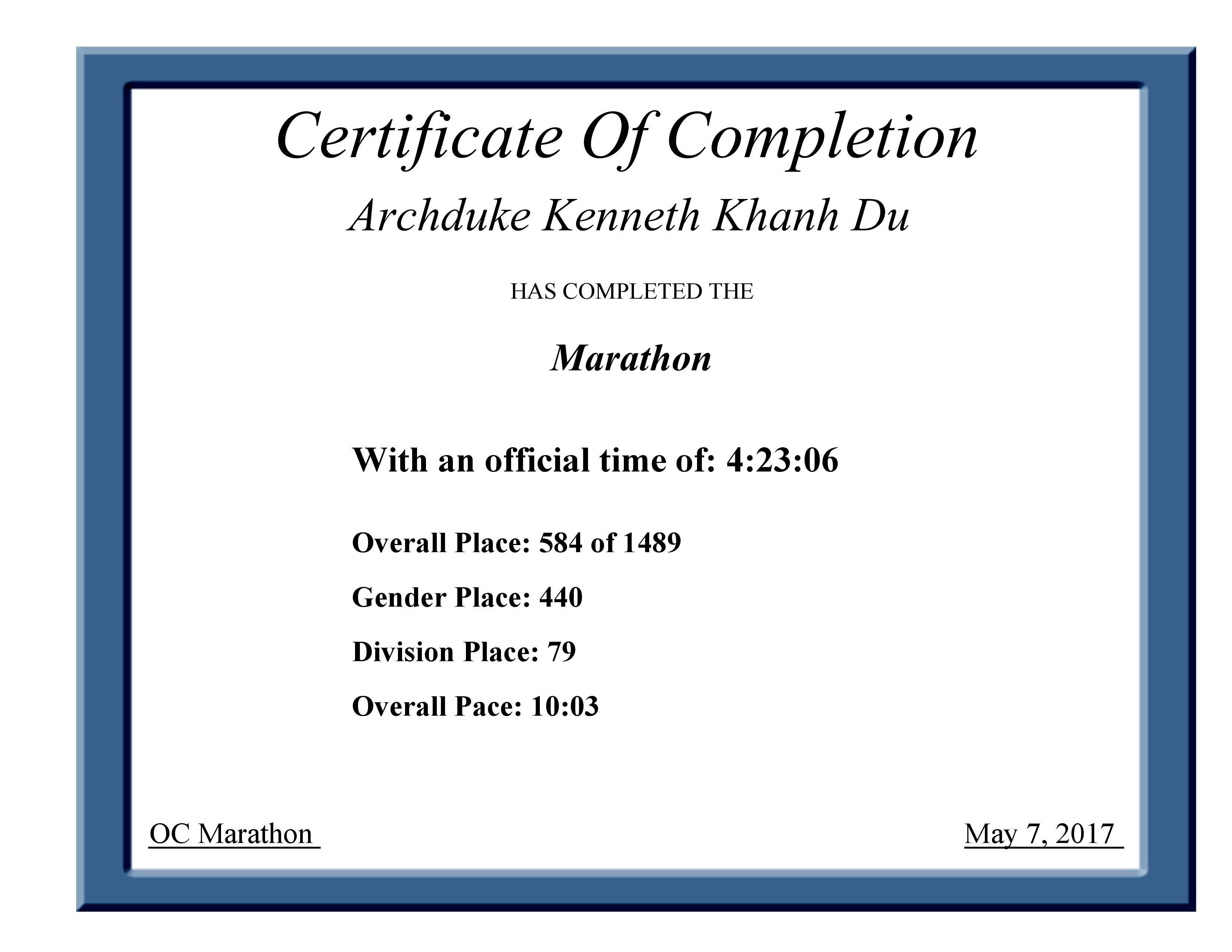 2017 U Bank Oc Marathon Finisher Certificate Archduke Kenneth Khanh Du Of Completion Author May 7th Sonnet 154 Paraphrase