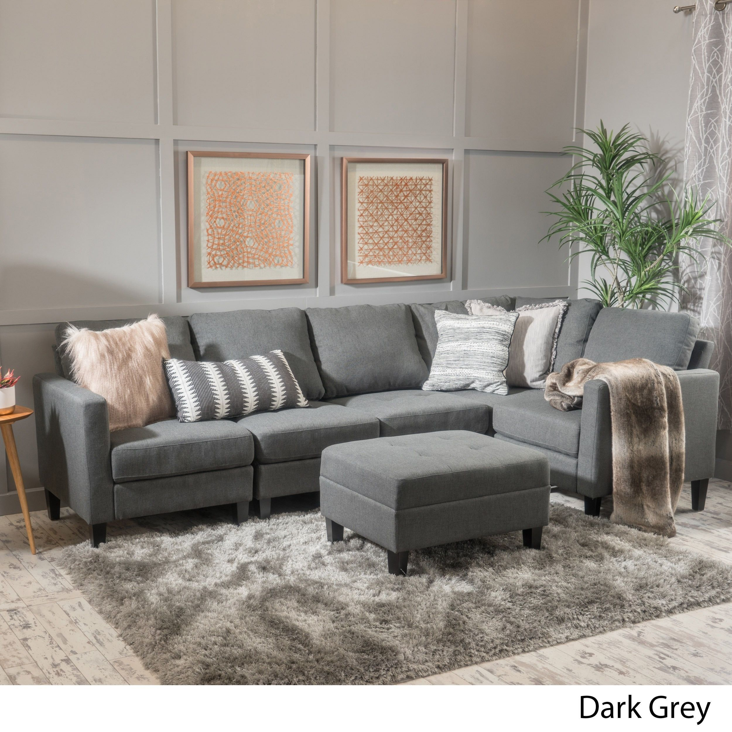 Zahra piece fabric sofa sectional with ottoman by christopher