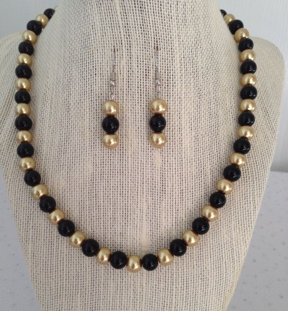 Black and Gold Pearl Necklace Bridesmaid by CherishedJewelryCo, $24.00