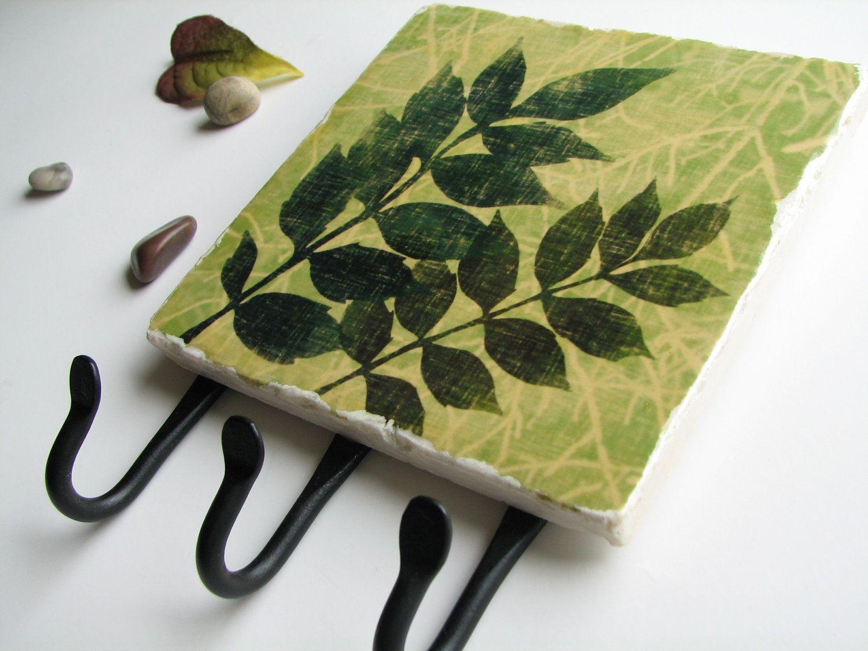 Green Leaf Key Rack, Natural Earthy Color Wall Decor
