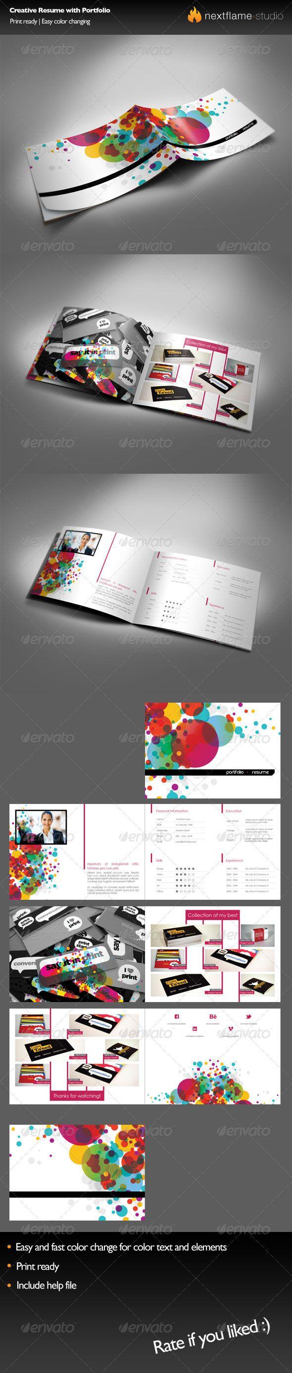 Creative Resume with Portfolio - Resume Template Indesign INDD ...
