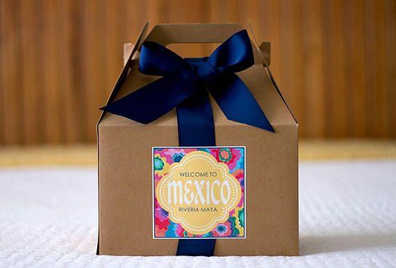 "Wedding Gift For Destination Wedding: 4X4"" Large Destination Wedding Welcome Bag Labels"