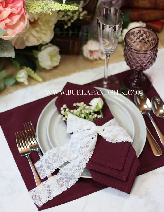 Burgundy Napkins 20 X Inches Wedding Whole Cloth