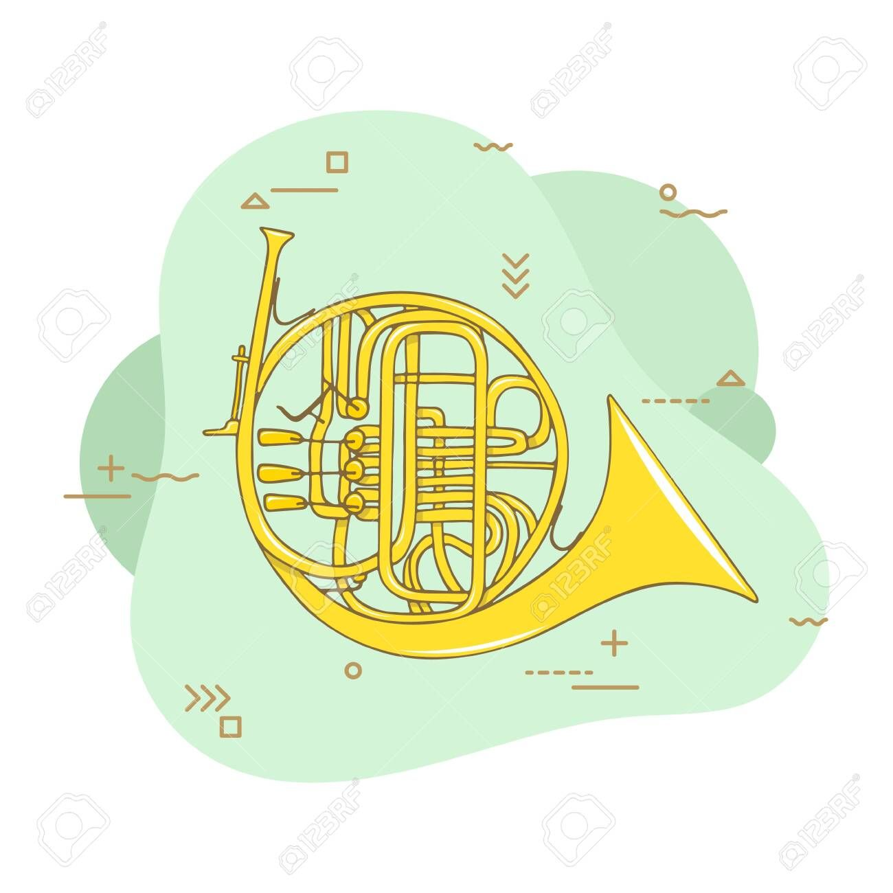 Hand Drawn French Horn Wind Musical Instrument Flat Vector Hand Drawn Illustration Affil How To Draw Hands Typography Design Layout Drawing Illustration