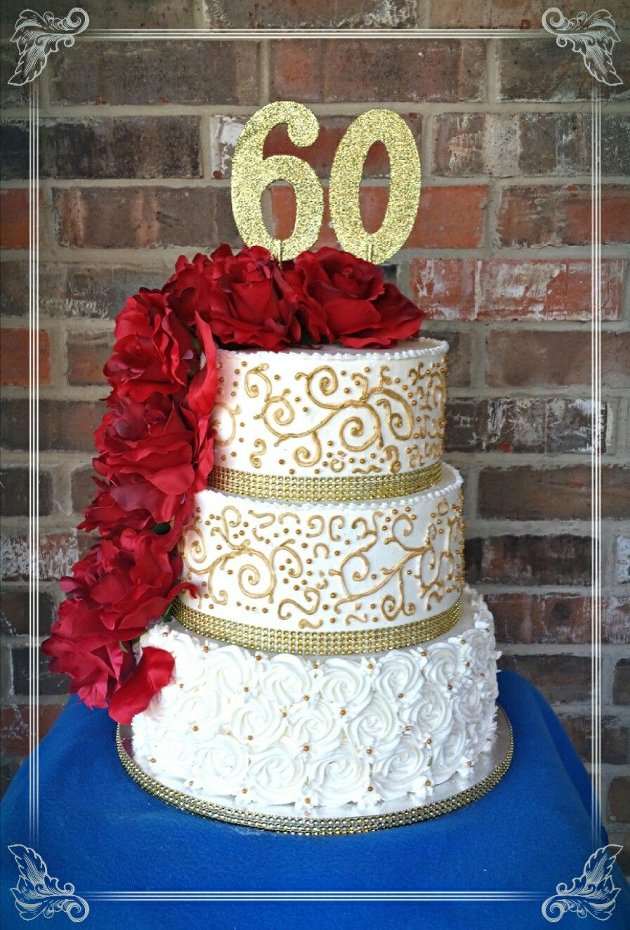 White And Gold With Red Roses 60th Birthday Cake By Max Amor Cakes