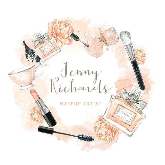 Peach Watercolor Makeup Artist Logo Jld105 Ilustrasi Kecantikan