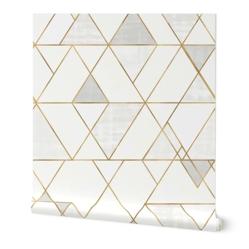 Ivy Bronx Clarkson Geometric Removable Peel And Stick Wallpaper Panel Reviews Wayfair Geometric Removable Wallpaper Geometric Wallpaper Wallpaper Panels