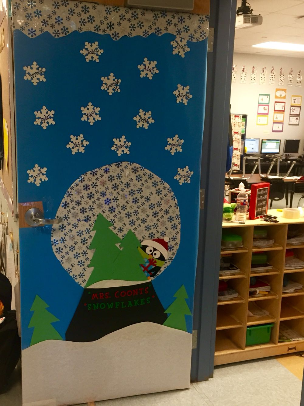 Snow Globe Classroom Door Decoration For My Daughter S Class Door Decorations Classroom Holiday Classroom Doors Christmas Door Decorating Contest