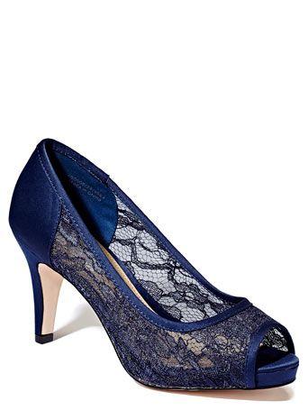 Navy Occasion Lace Platform Peep Toe Court Shoes