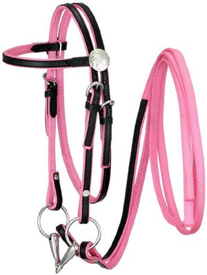 Nylon Bridle with Leather Trim Overlay  ChickSaddlery.com Baby girl will be wanting this