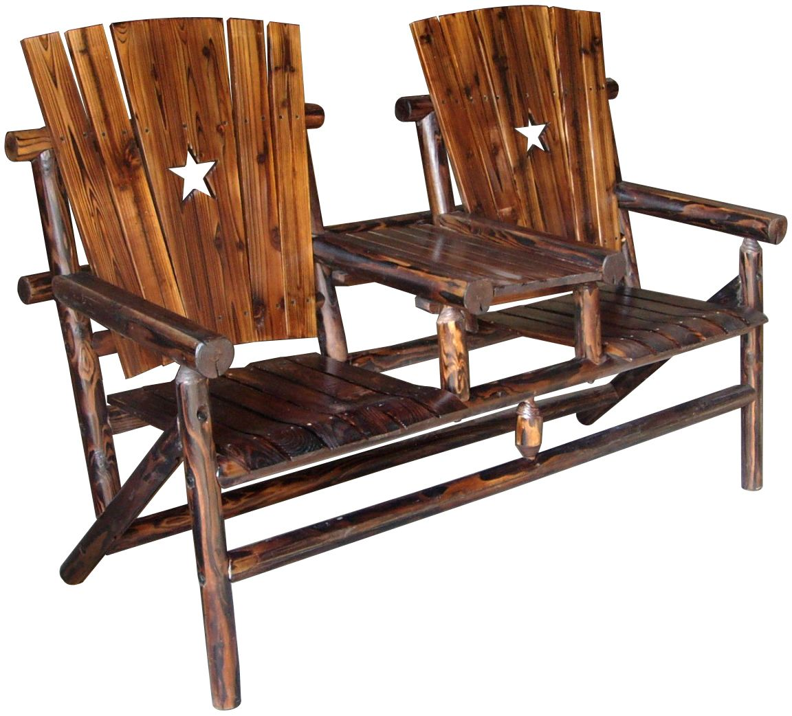 Texas Double Bench And Tray With The Texas Lone Star Patio
