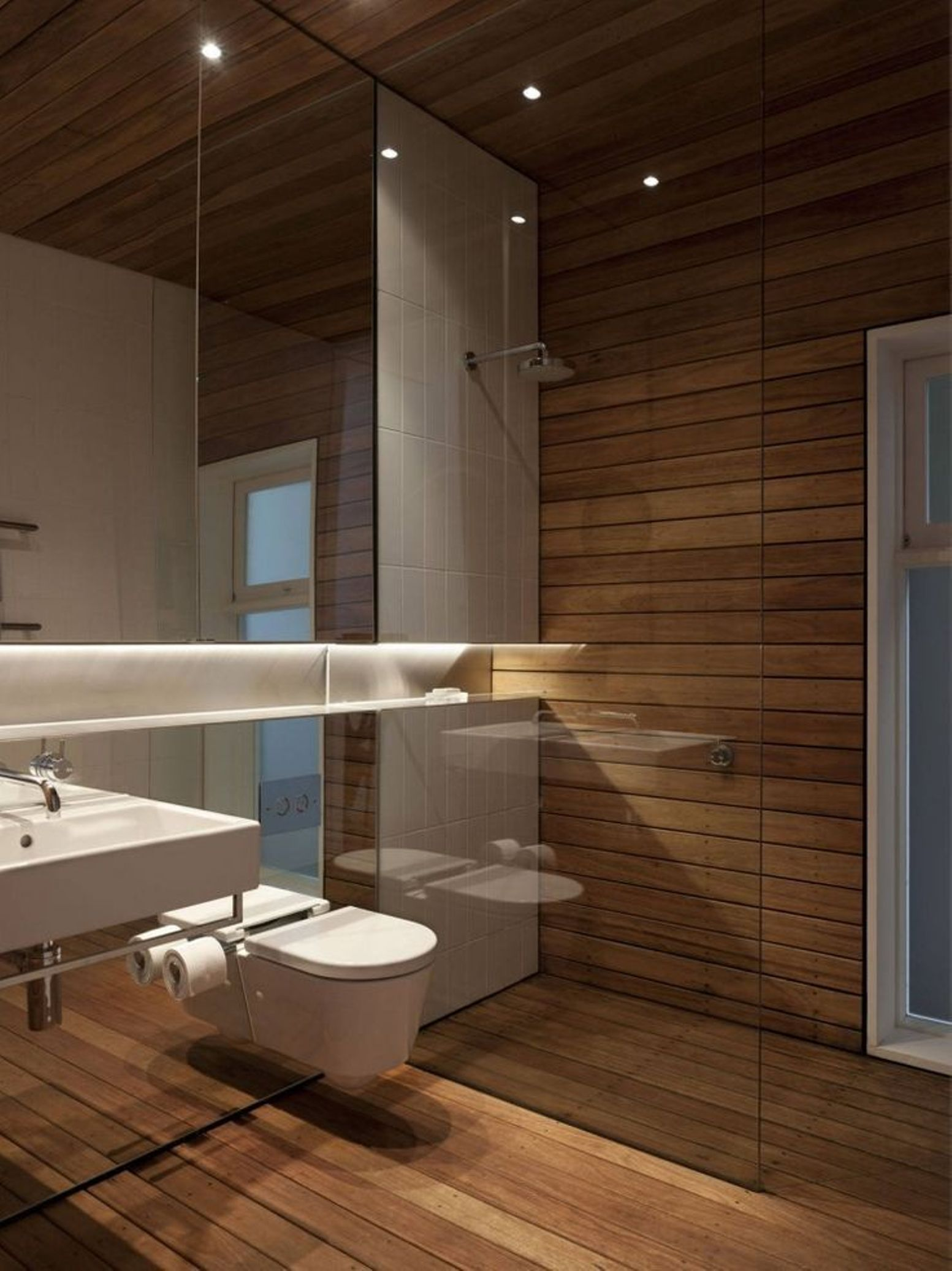 Bathroom , Recessed Bathroom Lighting Fixtures : Modern Bathroom With Recessed Bathroom Lighting Fixtures And White Floating Toilet And Wall Mounted Sink Into Mirror And Wood Paneling Walls And Wood Floor To Ceiling With Large Mirror