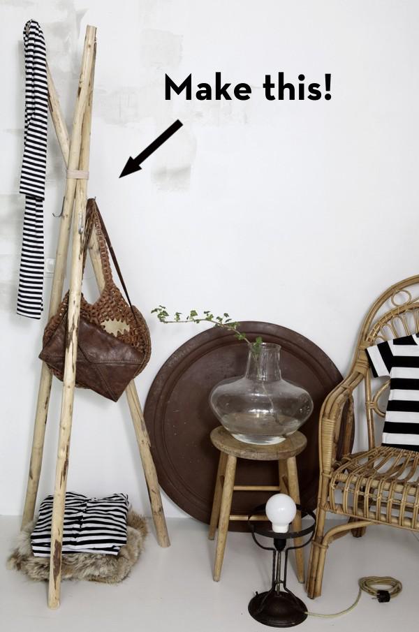 diy deco facile tutoriel bricolage decoration porte manteau bois a fabrquer soi meme ide deco minimaliste rustique style scandinave