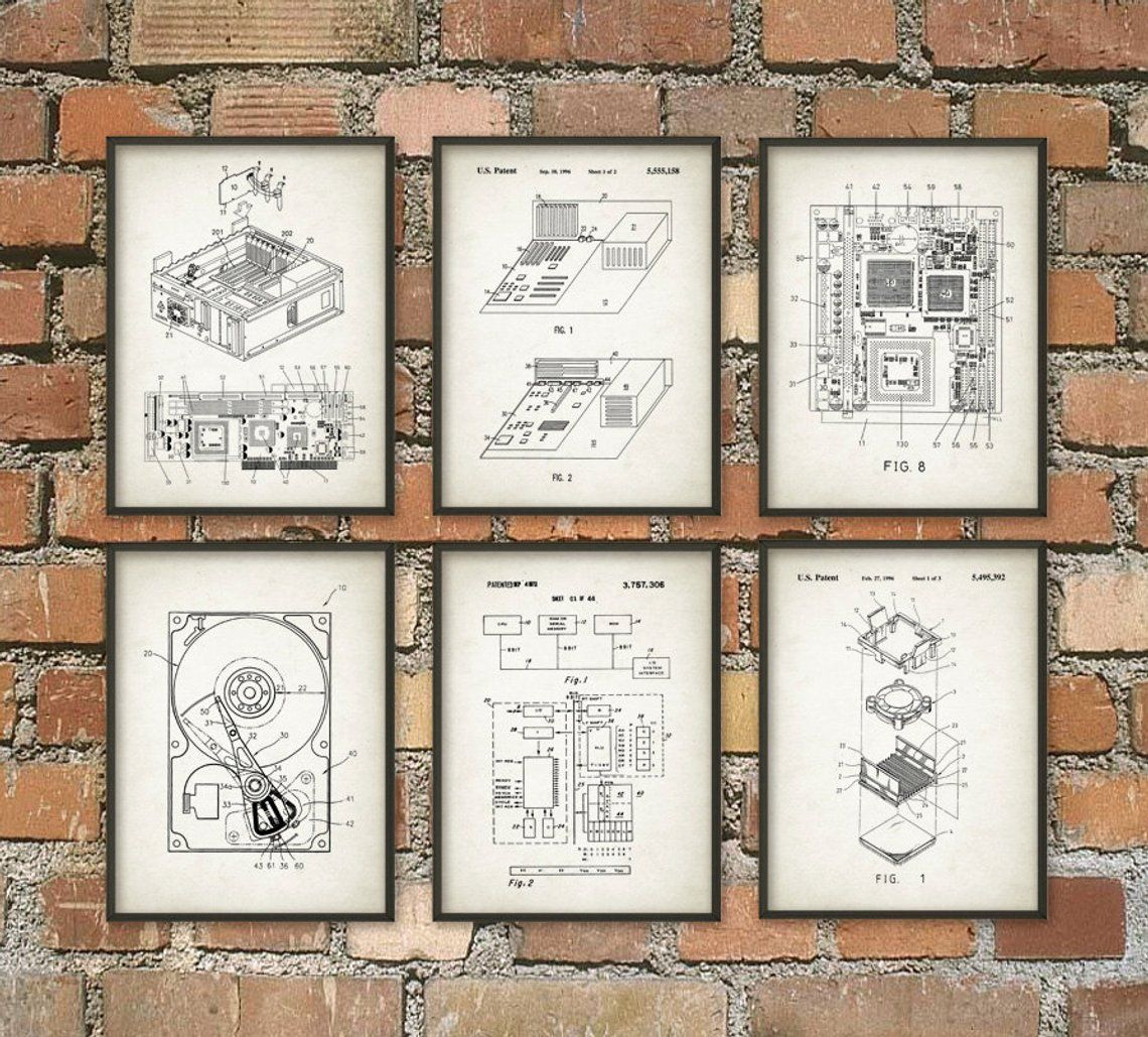 Computer Patent Wall Art Poster Set Of 6 Computer Room