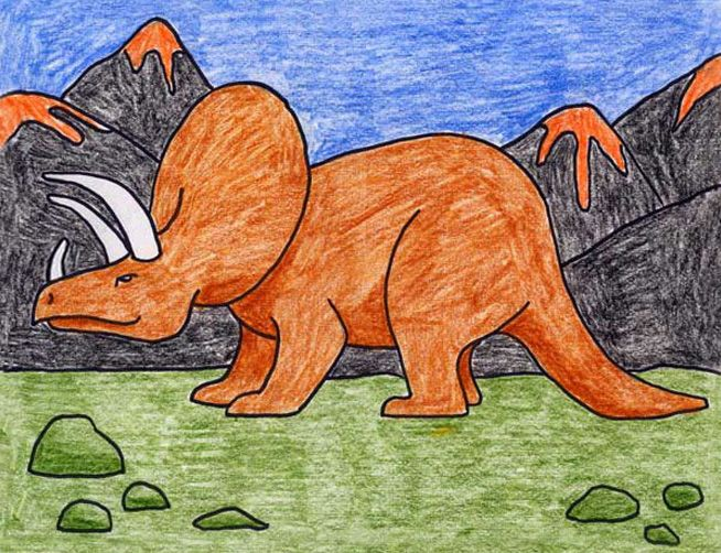 Draw A Triceratops Art Projects For Kids Dinosaur Art Projects Art Projects Kids Art Projects