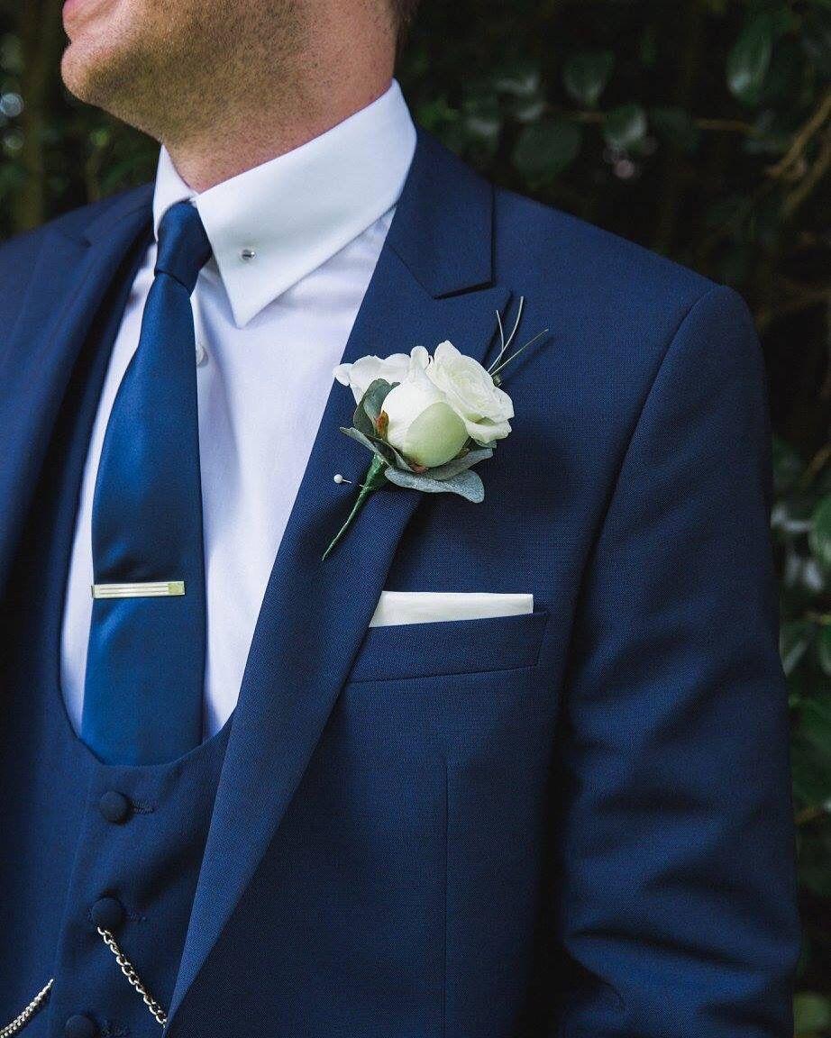 272193ba31b2 Three piece French navy wedding suit - pocket watch - tie slide - white  rose -