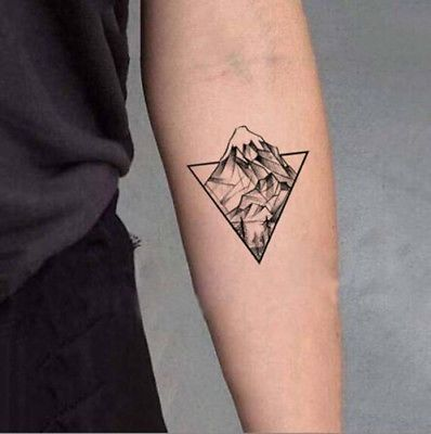 Waterproof Temporary Fake Tattoo Sticker Grey Geometric Mountain Forest Triangle
