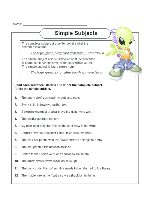 Simple Subjects - KidsPressMagazine.com Simple Subject, Reading Mini  Lessons, Subject And Predicate