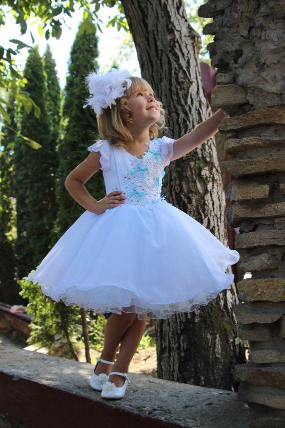 4a17359b4 Blanco rosa azul niña vestido de flores por Butterflydressua