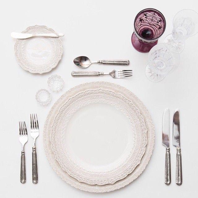 White Lace Dinnerware + Pewter Flatware + Vintage Purple/Czech Crystal/Flute Trios +  sc 1 st  Pinterest & White Lace Dinnerware + Pewter Flatware + Vintage Purple/Czech ...