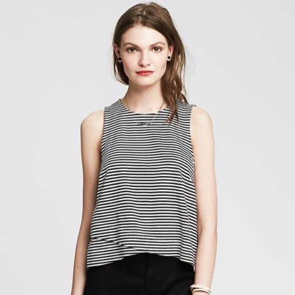 Banana Republic women's striped crossover-hem tank White and black striped casual tank. Brand new and unworn with tag. Banana Republic Tops Tank Tops