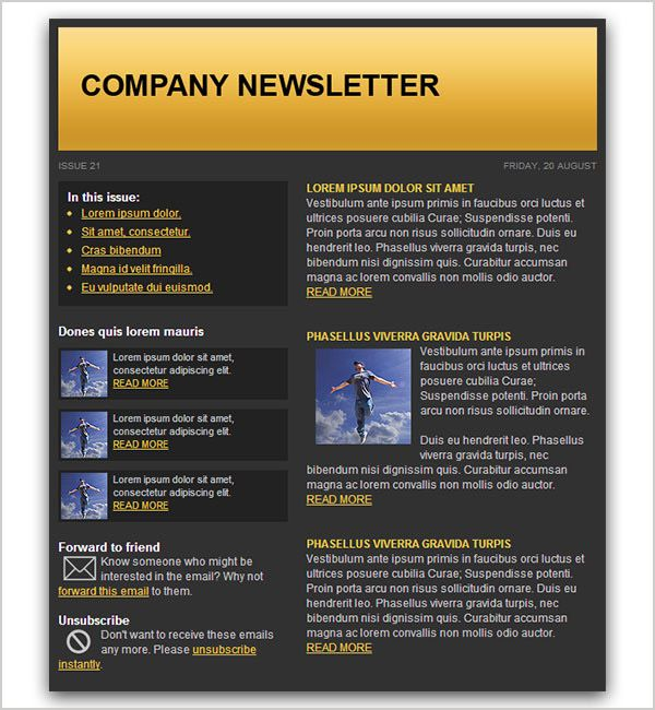 20 Free HTML Email Newsletter Templates Web Design UI iOS - company newsletter template free
