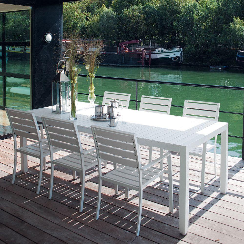 Gartentisch aus Aluminium, weiß, B 230 cm, Portofino ...