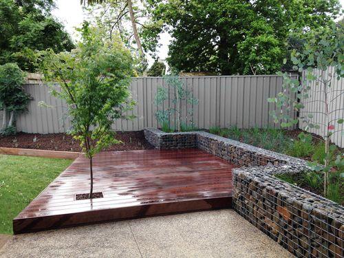 Greensborough Design - Angular deck and stonewall gabions ...