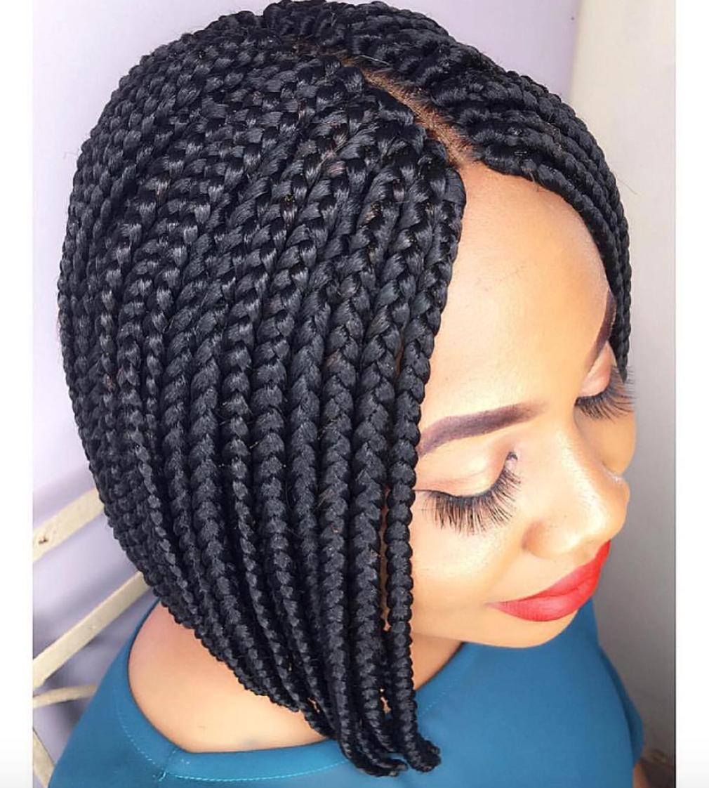 Sleek Box Braids Starqualitystylez Https Blackhairinformation Com Hairstyle Gallery Sleek Tresses Pour Cheveux Courts Cheveux Courts Noirs Cheveux Courts