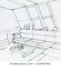 graphic sketch of attic living room hand drawn