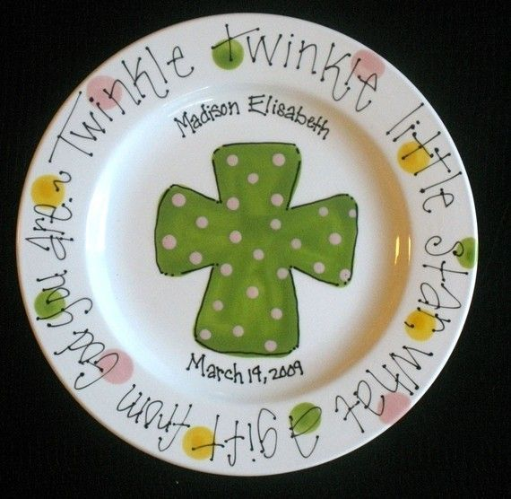 Ceramic Painted Plate with babyu0027s name & Ceramic Painted Plate with babyu0027s name | Baby Shower Ideas | Pinterest