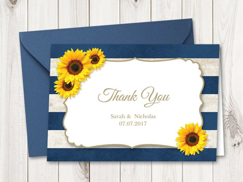 Wedding Thank You Card Template Sunflower Stripes, Navy Blue - microsoft word thank you card template