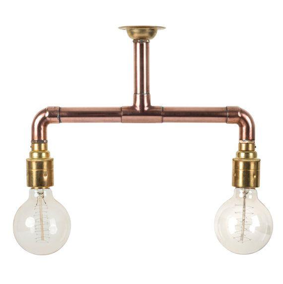 Copper Pipe Light Industrial Ceiling Light Brass E27 Lamp