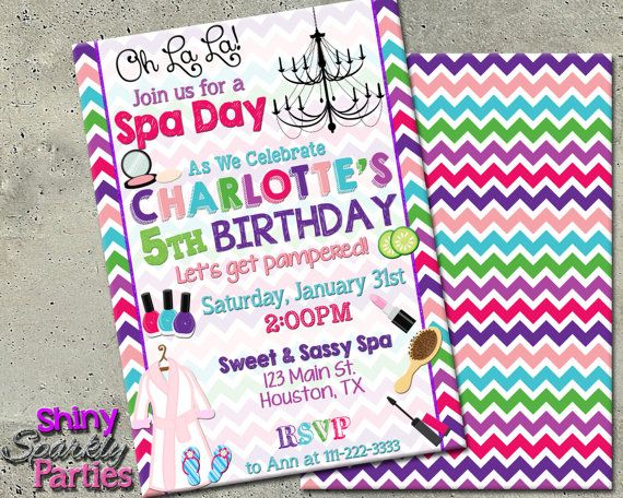 Spa birthday invitation spa party invitation spa pamper party printable spa birthday invitation spa by shinysparklyparties stopboris Gallery